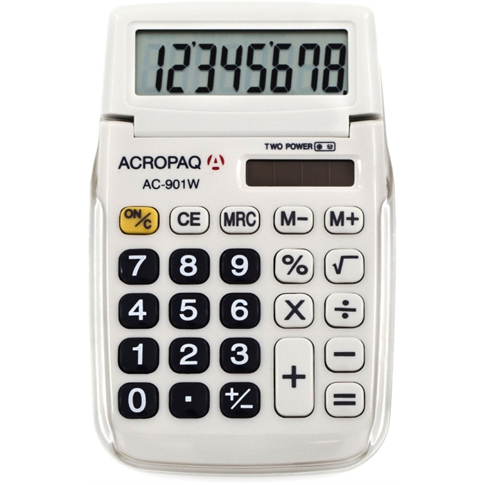 Picture of ACROPAQ AC901WH - School calculator pocket size with 8 digit display White