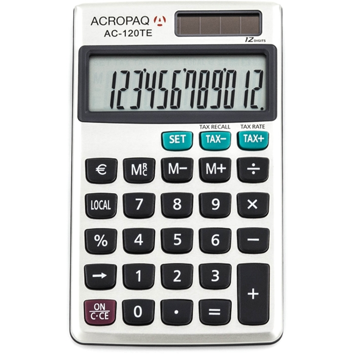 Picture of ACROPAQ AC120TE - Business calculator pocket size tax function 12 digits