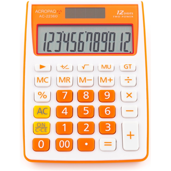 Picture of ACROPAQ AC2236O - Desktop Size calculator 12 digits Dual power Orange