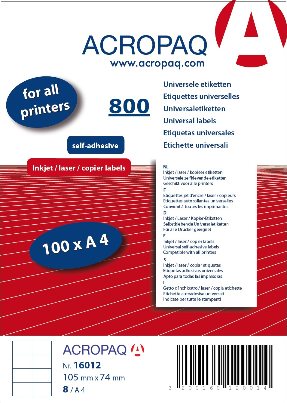 Picture of ACROPAQ LABELS - 100 A4 x 8 labels 105x74mm