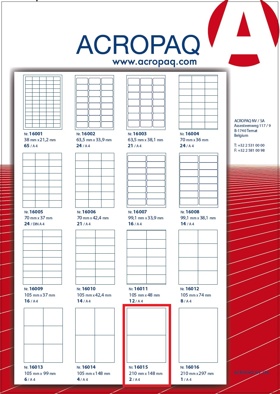 Picture of ACROPAQ LABELS - 100 A4 x 2 labels 210x148mm