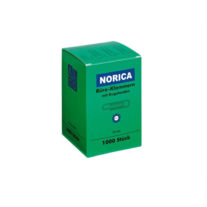 Picture of ALCO AL-2220 - Paperclips Norica with round end, zinc plated, 32 mm, pack of 1.000 pieces