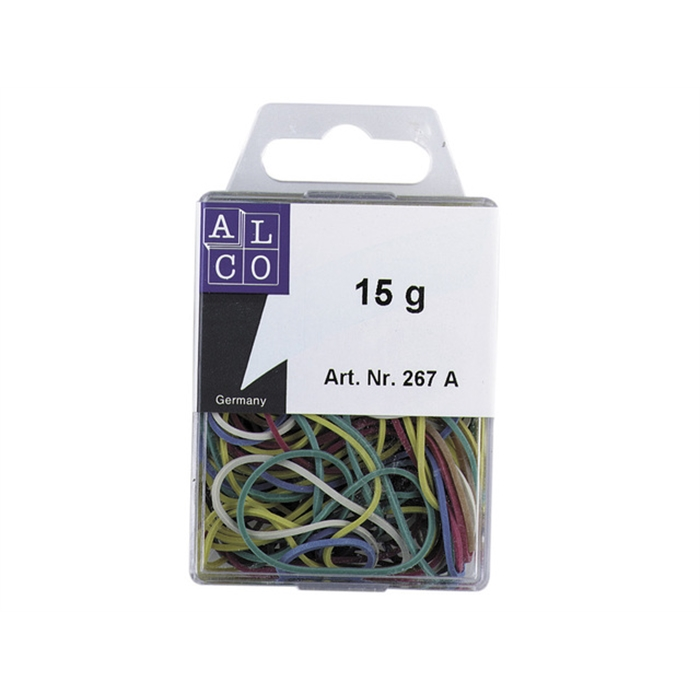 Picture of ALCO AL-267A - Alco rubber bands, 20-50 mm, Box of 15 grams, Assorted colours