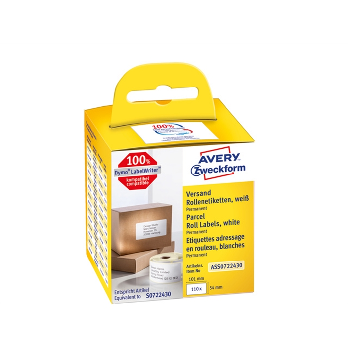 Picture of AVERY AV-ASS0722430 - Shipping label 101x54 mm, White, permanent, 1x110 labels