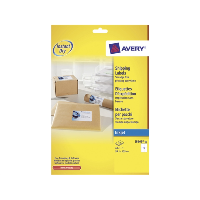 Picture of AVERY AV-J8169-10 - Avery inkjet label 99,1x139 mm white 10 sheets 4 ets. per sheet
