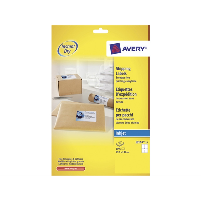 Picture of AVERY AV-J8169-25 - Avery inkjet label 99,1x139mm white 25 sheets 4 ets. per sheet