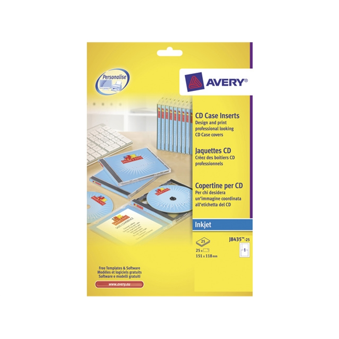 Picture of AVERY AV-J8435-25 - CD sleeves (front, edge and back) 151x117 mm, 25 sheets
