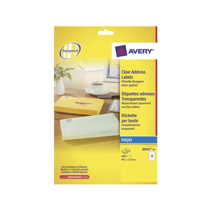 Picture of AVERY AV-J8562-25 - Address label 99,1x33,9 mm, transparent, inkjet, 25 sheets, 16 labels per sheet