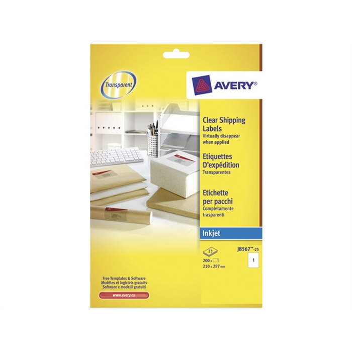 Picture of AVERY AV-J8567-25 - Address label A4, transparent, inkjet, 25 sheets, 1 label per sheet
