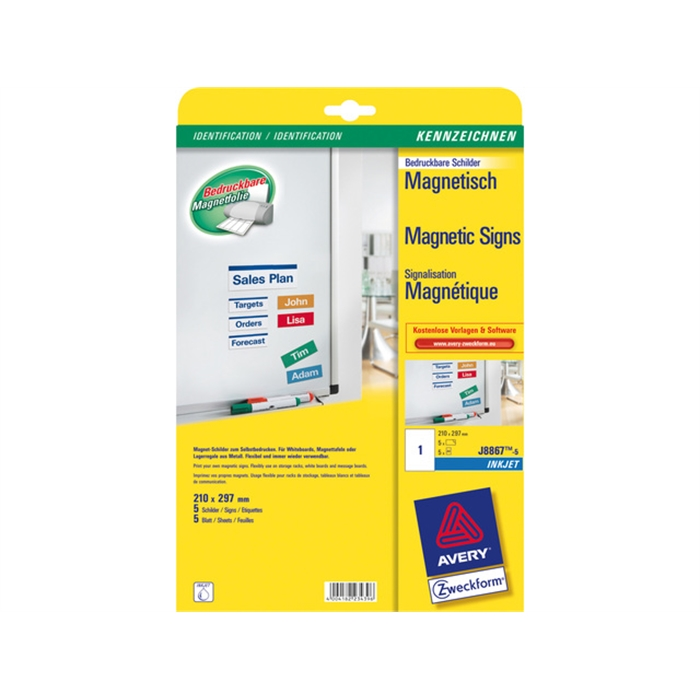 Picture of AVERY AV-J8867-5 - Printable magnetic labels 210x297 mm, 5 sheets, 1 label per sheet