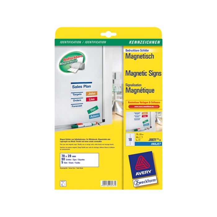 Picture of AVERY AV-J8871-5 - Printable magnetic labels 78x28 mm, 5 sheets, 18 labels per sheet