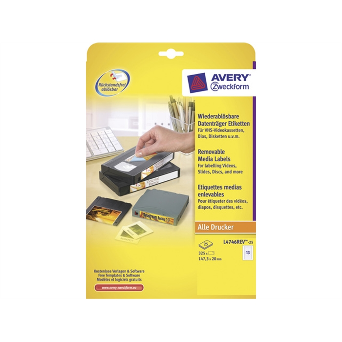 Picture of AVERY AV-L4746REV-25 - Video label 147,3x20 mm White, 25 sheets, 13 labels per sheet
