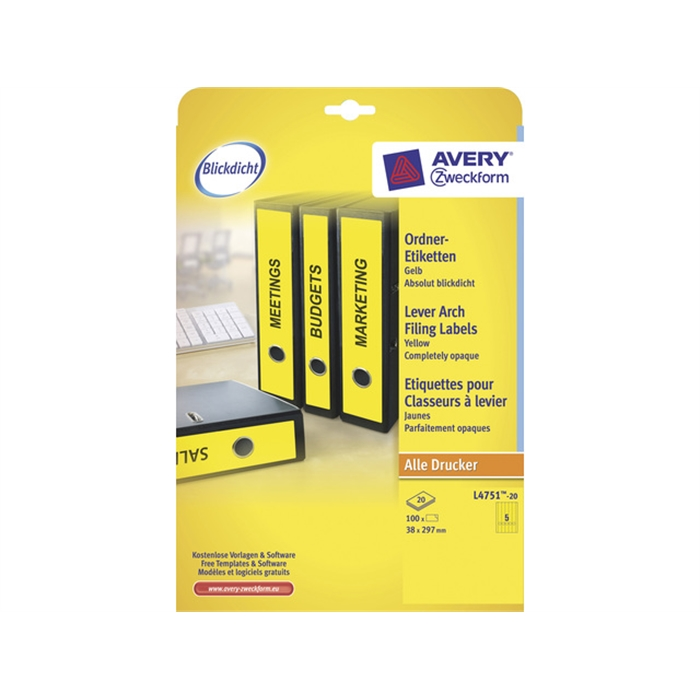 Picture of AVERY ZWECKFORM L4751-20 - Back label, on A4 sheet, self-adhesive, paper, narrow / long, 38x297 mm, Yellow, 100 pieces