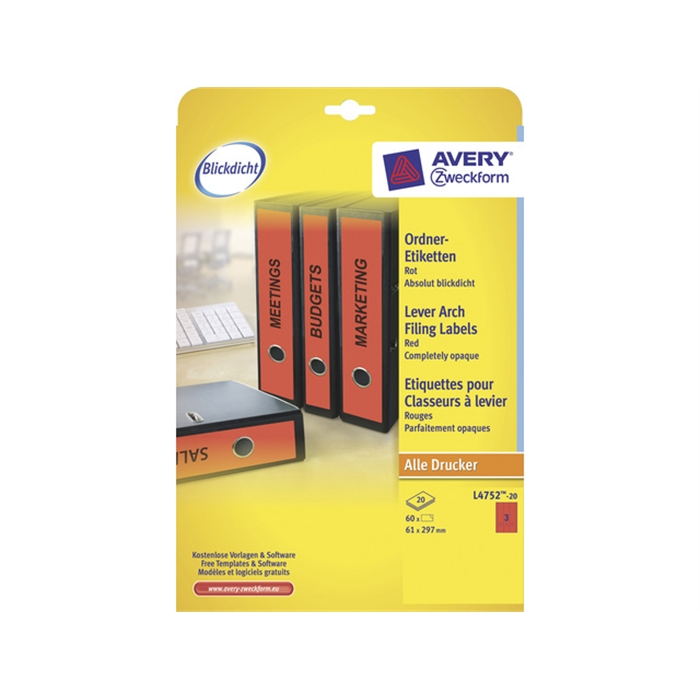 Picture of AVERY ZWECKFORM L4752-20 - Back label, on A4 sheet, self-adhesive, paper, wide / long, 61x297 mm, Red, 60 pieces