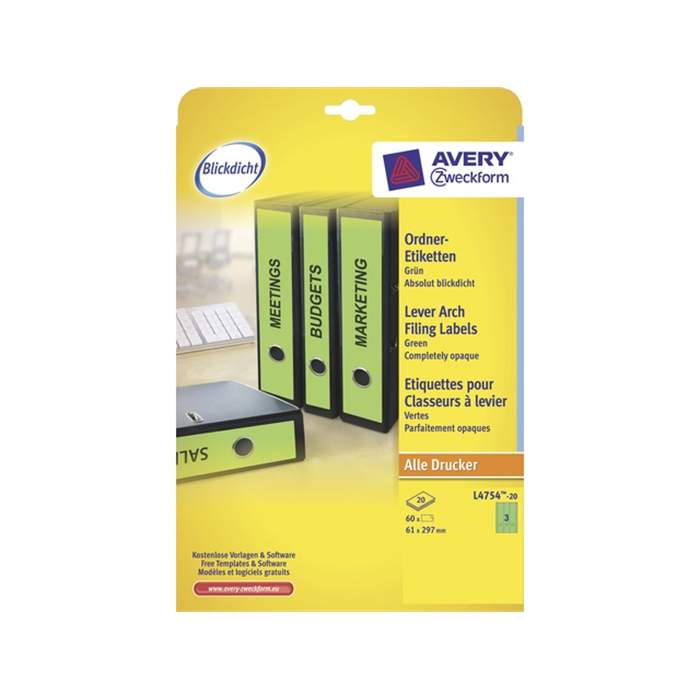 Picture of AVERY ZWECKFORM L4754-20 - Back label, on A4 sheet, self-adhesive, paper, wide / long, 61x297 mm, Green, 60 pieces