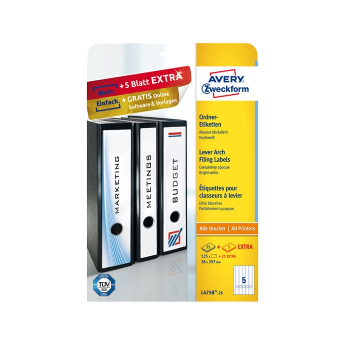 Picture of AVERY AV-L4758-25 - Long labels for the narrow back of filing cabinets, White, 297x38 mm, 25 sheets, 5 labels per sheet