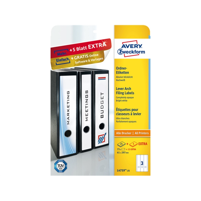 Picture of AVERY AV-L4759-25 - Long labels for the narrow back of filing cabinets, White, 297x61 mm, 25 sheets, 3 labels per sheet
