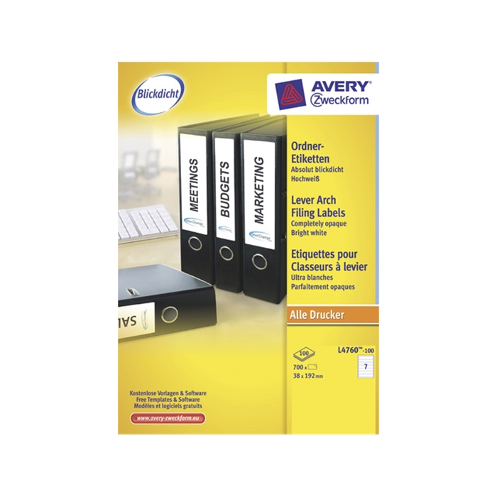 Picture of AVERY AV-L4760-100 - White labels for the narrow back of filing cabinets, 192x38 mm, 100 sheets, 7 labels per sheet