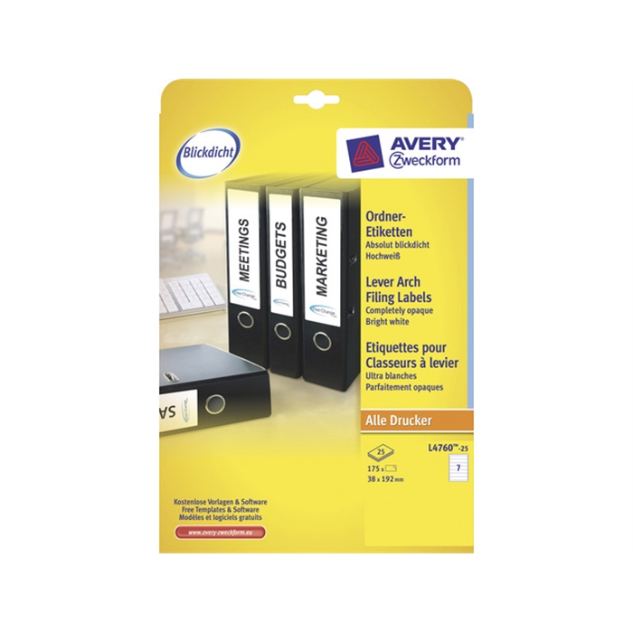 Picture of AVERY AV-L4760-25 - White labels for the narrow back of filing cabinets, 192x38 mm, 25 sheets, 7 labels per sheet