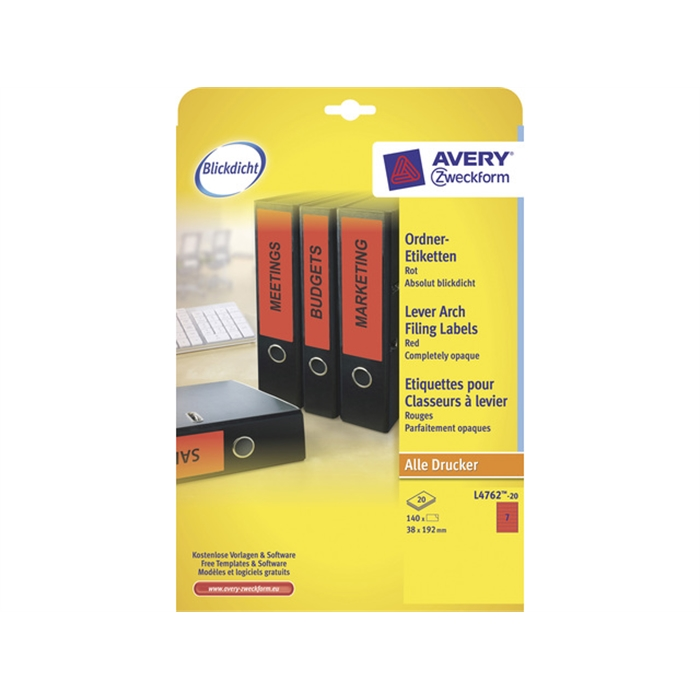 Picture of AVERY ZWECKFORM L4762-20 - Back label, on A4 sheet, self-adhesive, paper, narrow / short, 38x192 mm, Red, 140 pieces