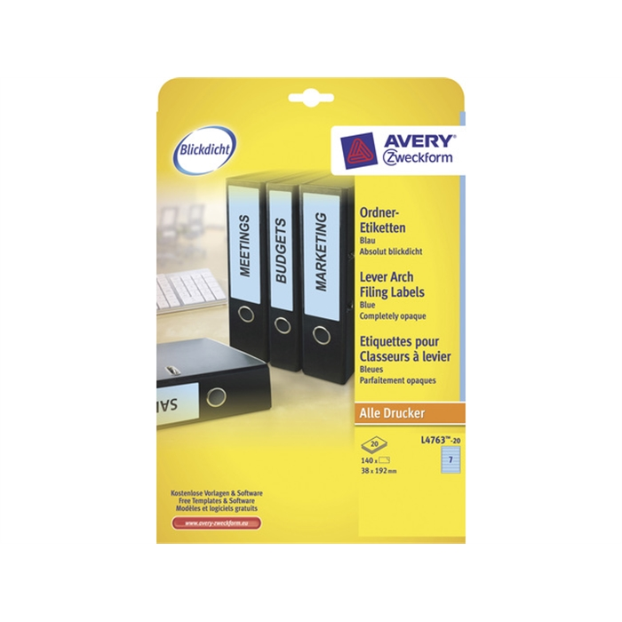 Picture of AVERY ZWECKFORM L4763-20 - Back label, on A4 sheet, self-adhesive, paper, narrow / short, 38x192 mm, Blue, 140 pieces