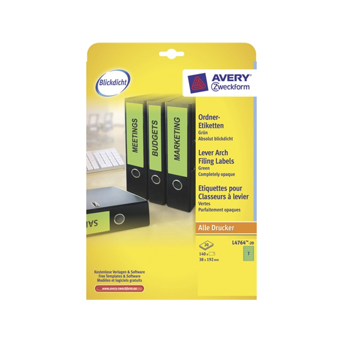 Picture of AVERY ZWECKFORM L4764-20 - Back label, on A4 sheet, self-adhesive, paper, narrow / short, 38x192 mm, Green, 140 pieces