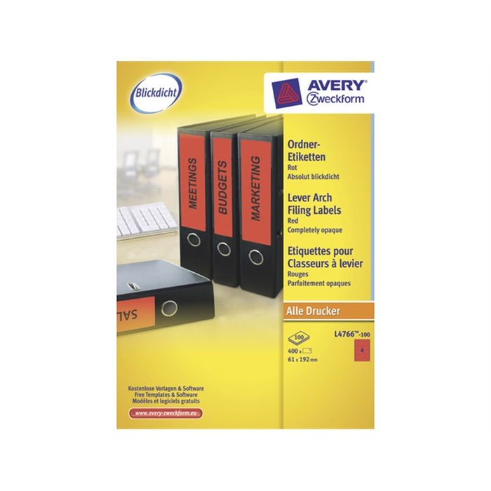Picture of AVERY AV-L4766-100 - Long labels for wide filing cabinet on the back of the cabinet, Red, 192x61 mm, 100 sheets, 4 labels per sheet