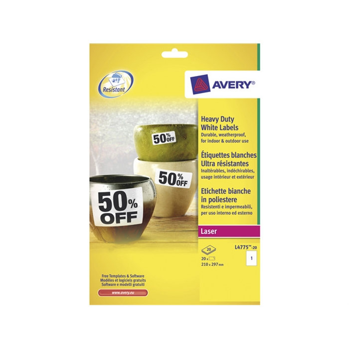 Picture of AVERY AV-L4775-20 - Ultra-resistant Avery white laser labels, 210x297 mm