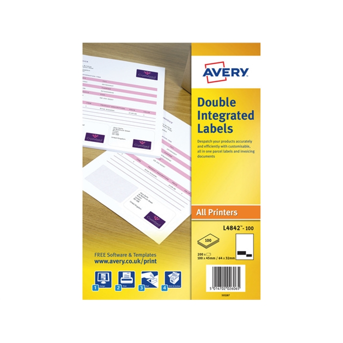 Picture of AVERY AV-L4842-100 - Shipping label / form 100x45 mm, 64x32 mm, 2 on sheets, 100 sheets