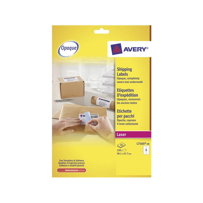 Picture of AVERY AV-L7165-40 - Shipping label BlockOut 99,1x67,7 mm, White, 40 sheets, 8 labels per sheet