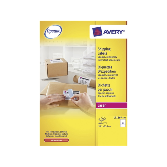 Picture of AVERY AV-L7166-100 - Shipping label BlockOut 99,1x93,1 mm, White, 100 sheets, 6 labels per sheet
