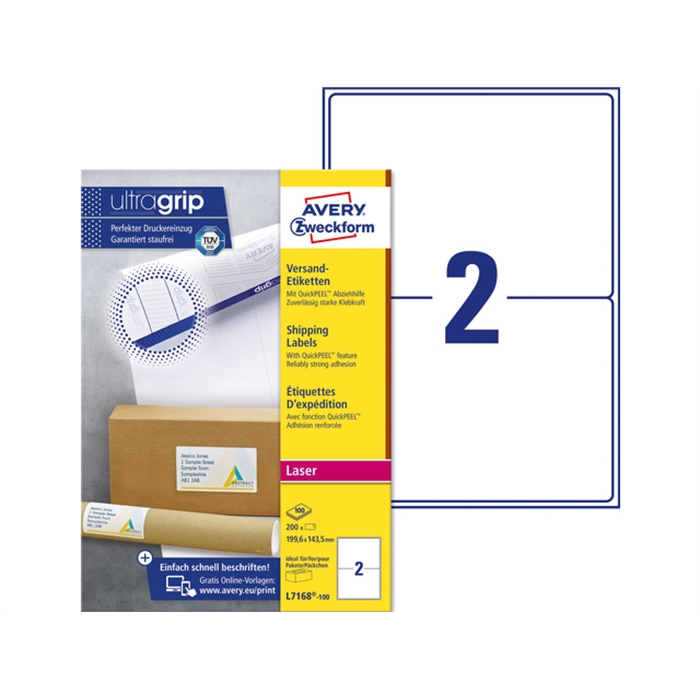 Picture of AVERY AV-L7168-100 - Shipping label BlockOut 199,6x143,5 mm, 100 sheets, 2 labels per sheet