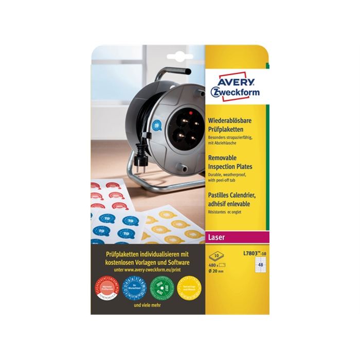 Picture of AVERY AV-L7803-10 - 480 Counterfeit-proof calendar pads 20 mm