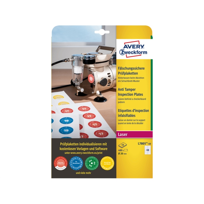 Picture of AVERY AV-L7805-10 - 480 Forgery-proof inspection pads 20 mm