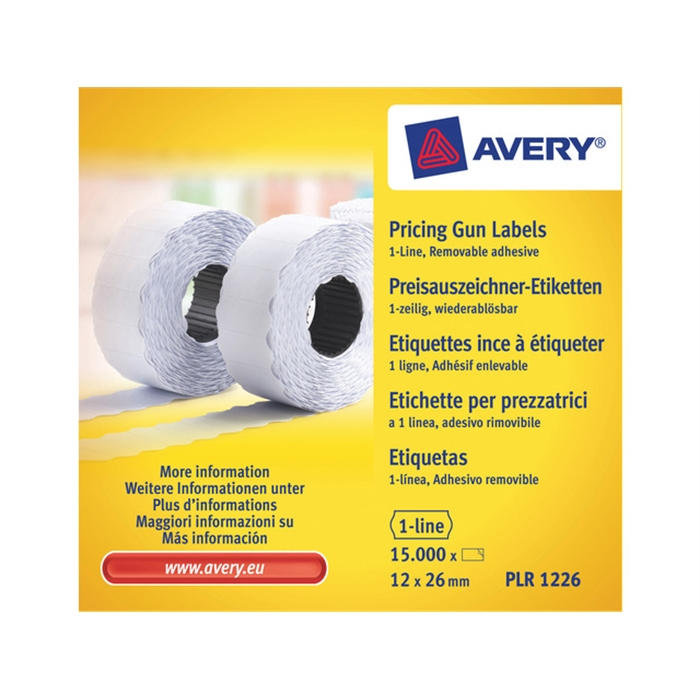 Picture of AVERY PLR1226 - Price bar labels White, not durable, 26x12 mm, 10 rolls, self-adhesive