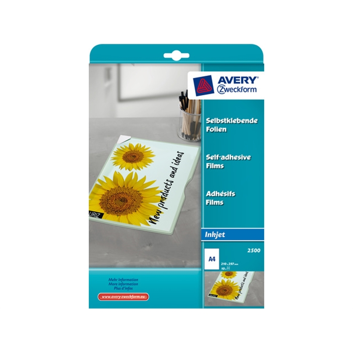 Picture of AVERY 2500 - Inkjet film, self-adhesive, A4, 0,17 mm, transparent, 10 pieces