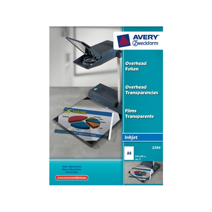Picture of AVERY AV-2504 - Inkjet foil A4, 0,11 mm, 50 sheets, self-adhesive