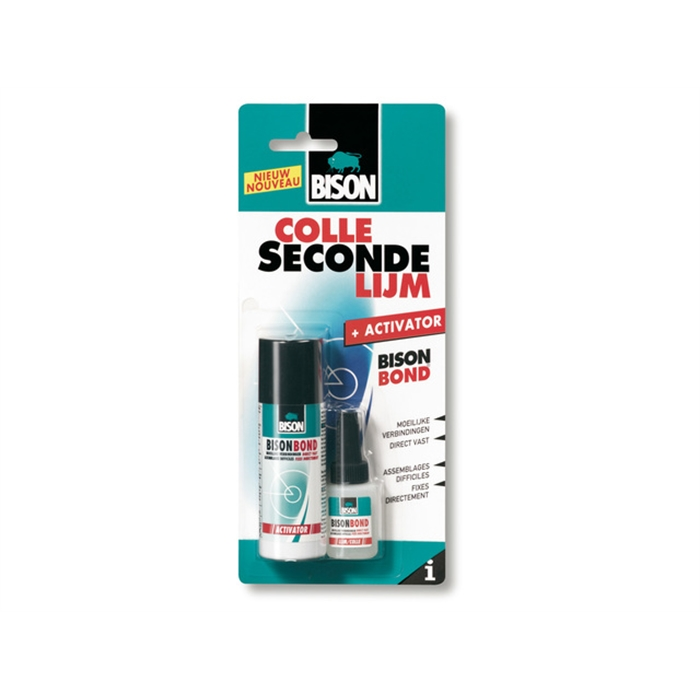 Picture of Bison colle seconde 10ml + activator l'aerosol 50ml set