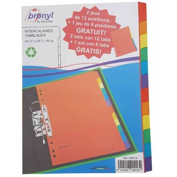 Picture of Bronyl 900014 - Dividers pressboard 180gsm 2x12 tabs + 1x6 tabs - A4