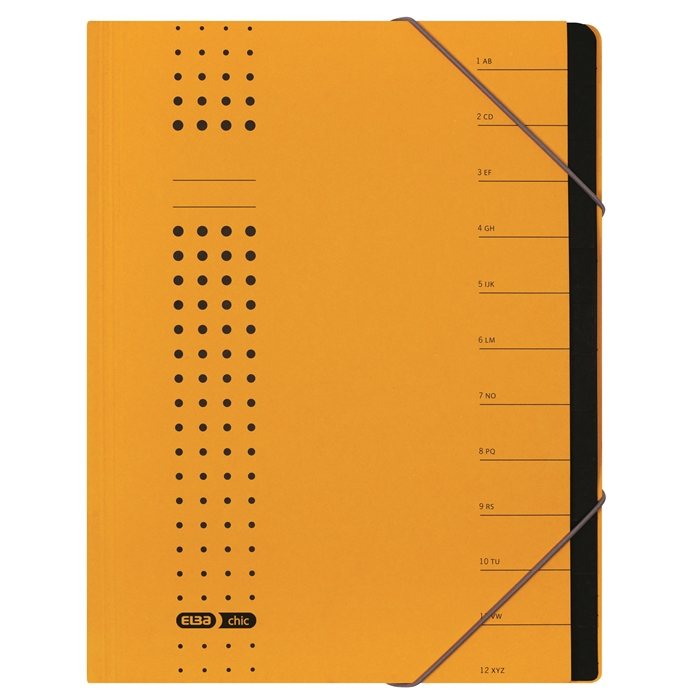 Picture of ELBA chic sorter, A4, cover 450 gsm card, 12 dividers, yellow