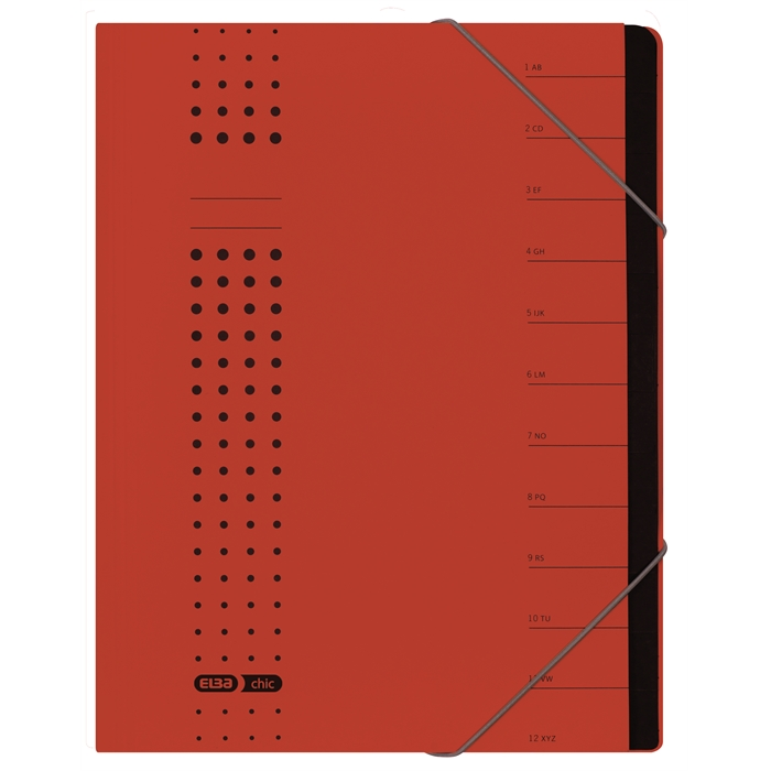 Picture of ELBA chic sorter, A4, cover 450 gsm card, 12 dividers, red