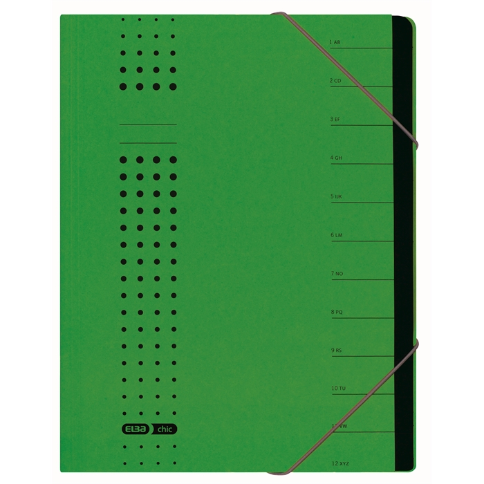 Picture of ELBA chic sorter, A4, cover 450 gsm card, 12 dividers, green