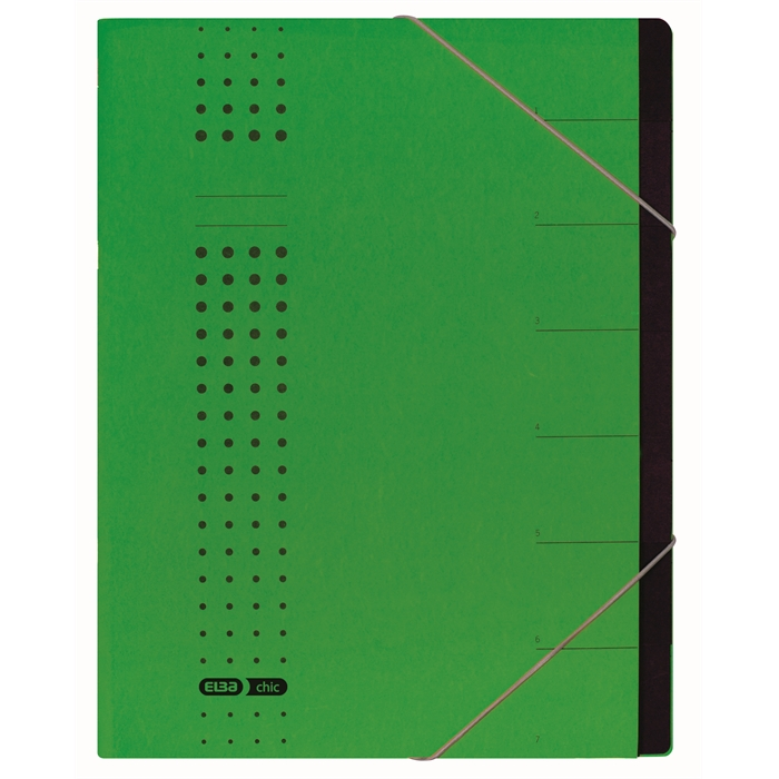 Picture of ELBA chic sorter, A4, cover 450 gsm card, 7 dividers, green