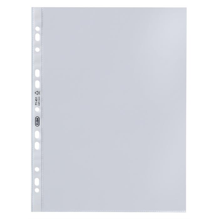 Picture of Box of 100 Punched pockets Elba A4 Polypropylene 50µ Smooth Clear