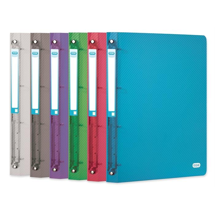 Picture of Pack of 6 Ring binders Elba Hawaï A4XL 40mm Spine 2 rings Assorted 6 Colours