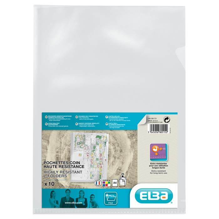 Picture of Bag of 10 L-Folders Elba A4 PVC 150µ Smooth Clear