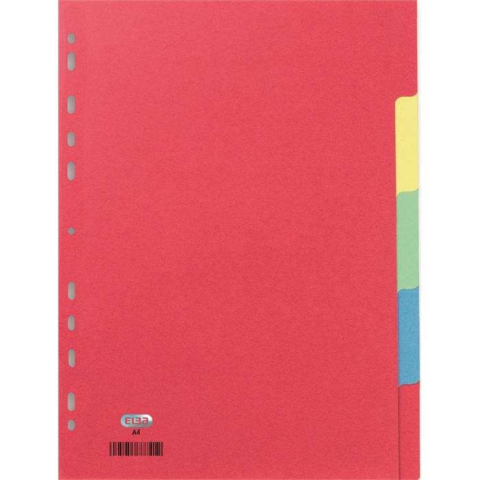 Picture of Elba A4 5 part 23 holes dividers 225gsm coloured marbled card assorted
