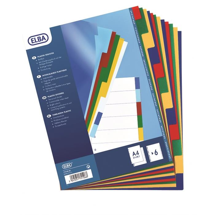 Dividers Neutral Elba A4 6 Tabs Pp 12/100 Assorted, Picture 3