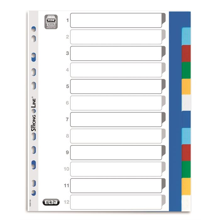Dividers Neutral Elba A4+ 12 Tabs Pp 12/100 Assorted, Picture 2