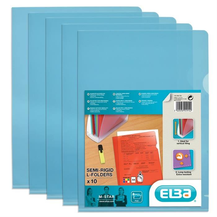 Picture of Bag of 10 L-Folders Elba M Star A4 PVC 150µ Smooth Blue